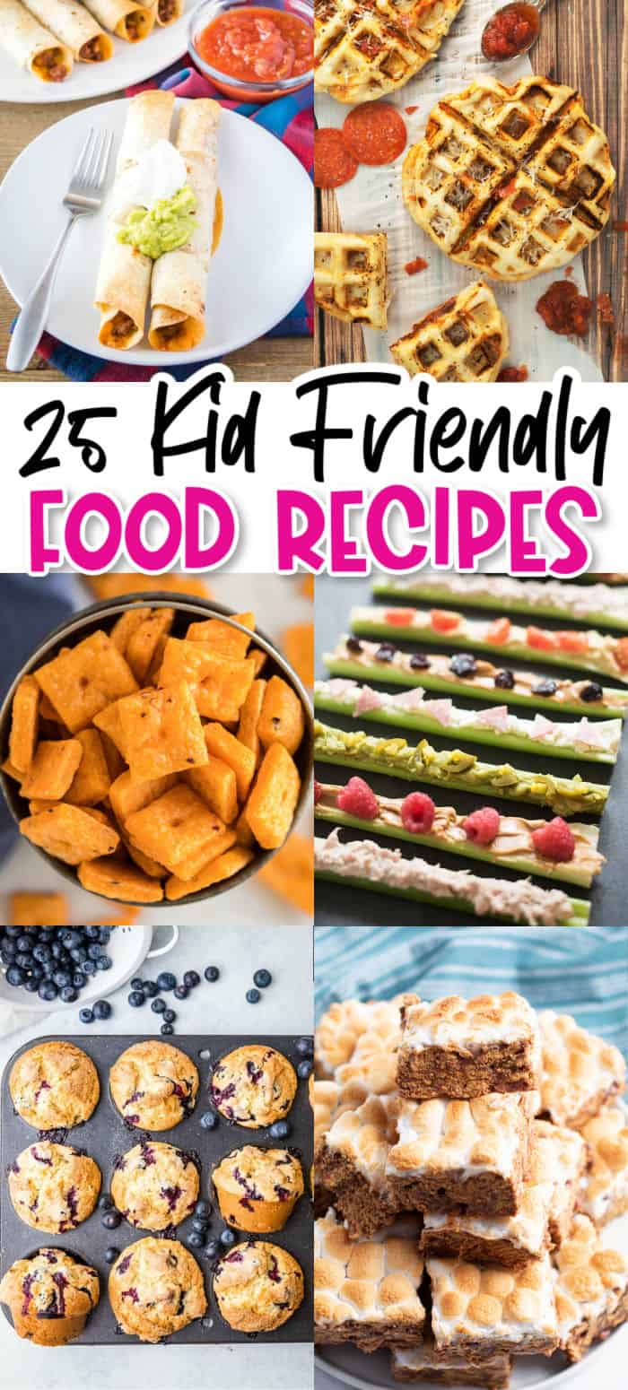 vertical collage of kid friendly recipes with text