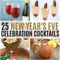 vertical collage of NYE celebration cocktails