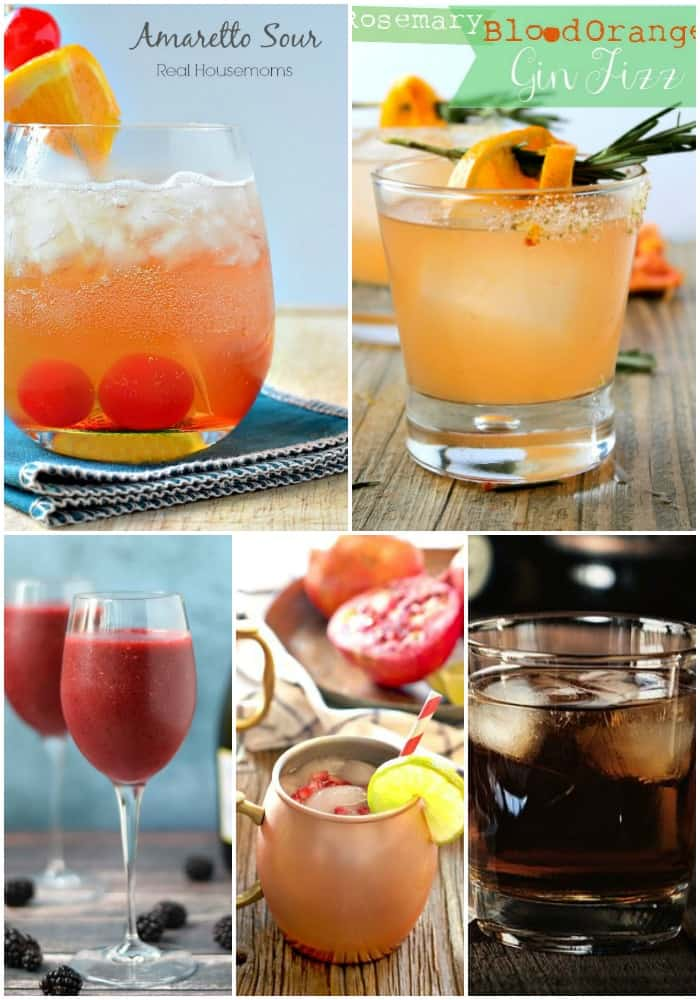 a selection of cocktails for New Year's Eve