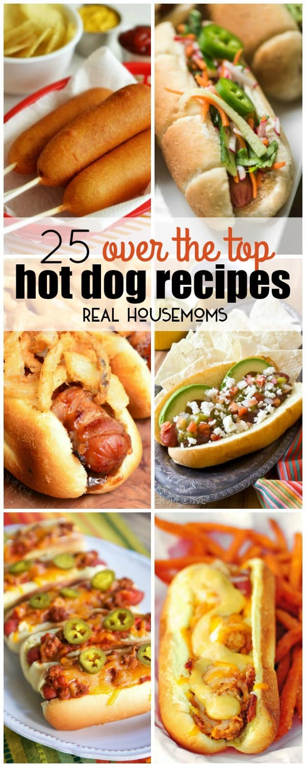 vertical collage of hot dogs