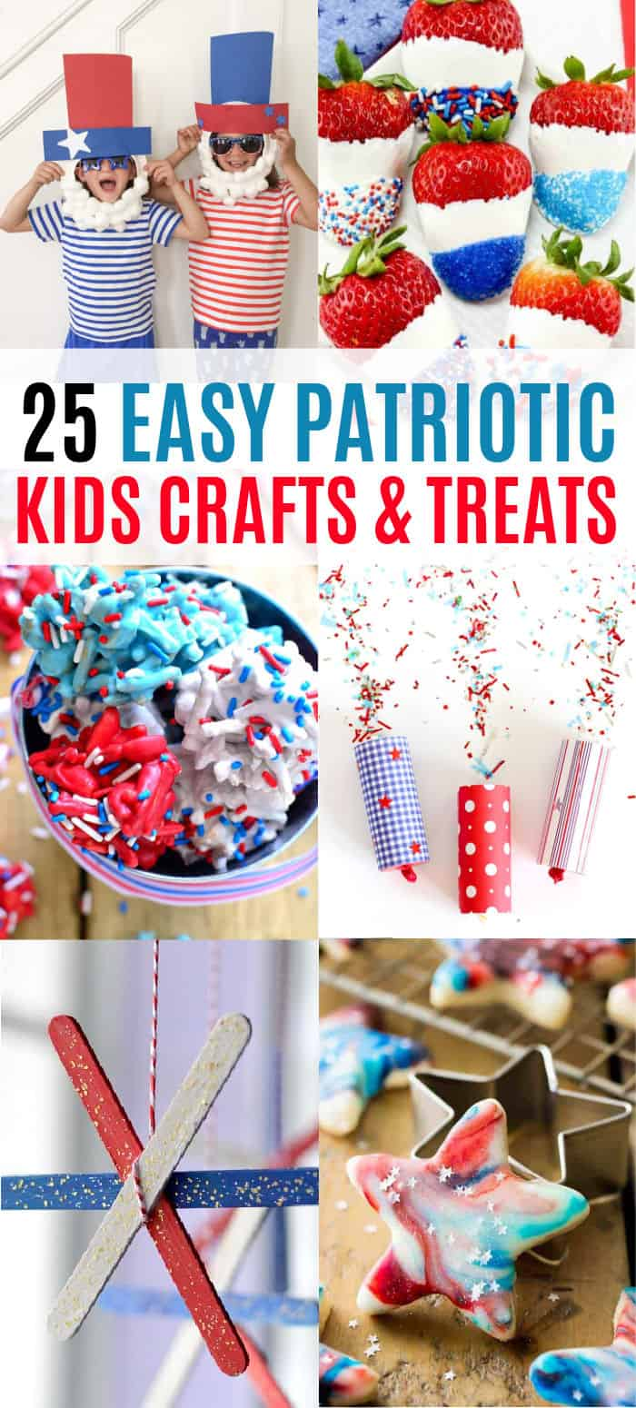 vertical collage of patriotic kids crafts and treats