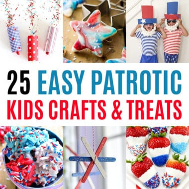 square collage of patriotic kids crafts and treats