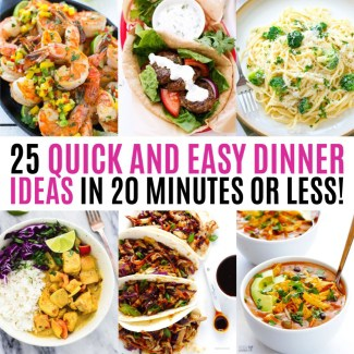 collage of Cilantro Lime Shrimp with Mango Avocado Salsa, Greek Gyros with Tzatziki Sauce, Broccoli Garlic Fettuccine Alfredo, Coconut Curry Chicken, Moo Shu Pork, and Cheesy Chicken Enchilada Soup - 20 minute or less dinner ideas