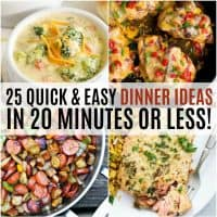 vertical collage of 20 minute or less dinners