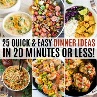 Get dinner on the table in a hurry with these 25 Quick and Easy Dinner Ideas in 20 Minutes or Less! They're great for busy weeknights or when dinner time sneaks up on you!