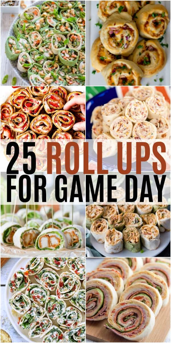 vertical collage of roll ups for game day