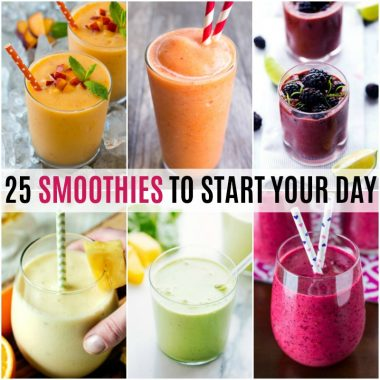 Breakfast on the go doesn't have to mean fast food.  These 25 Smoothies to Start Your Day are a quick and easy way to get your day started the right way!