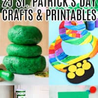 vertical collage of 6 st. ptracik's day crafts and printables with text overlay