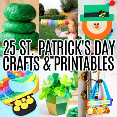 square collage of 6 st. ptracik's day crafts and printables with text overlay