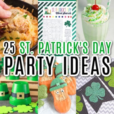 square collage of st. patrick's day party ideas with text overlay