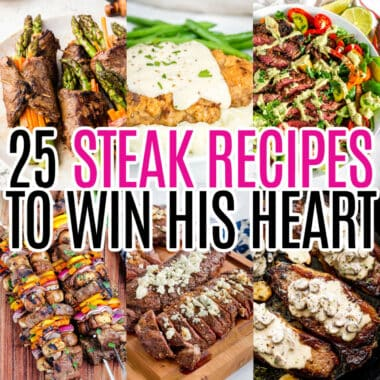square collage of 6 steak recipes with round up name text overlay