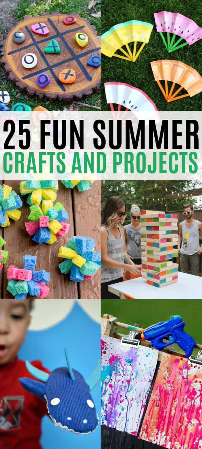 vertical collage of summer crafts, activities, and projects for the whole family