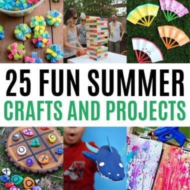 square collage of summer crafts, activities, and projects for the whole family