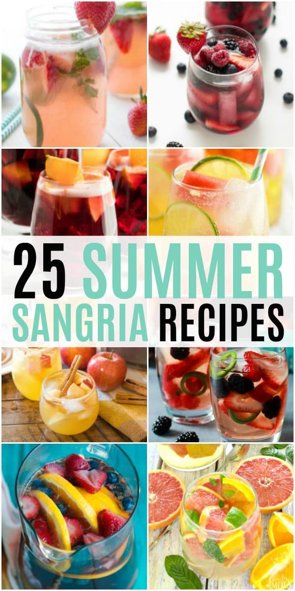 collage of summer sangria reipes