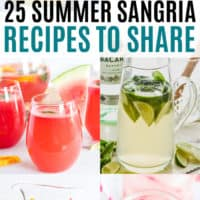 vertical collage of summer sangria recipes with text