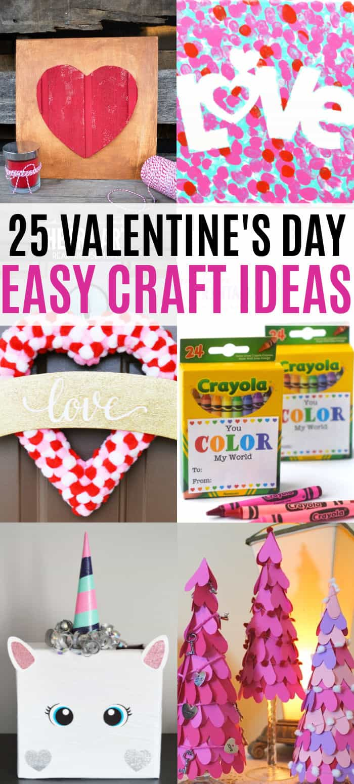 vertical collage of valentine's day crafts with text