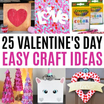 square collage of valentine's day crafts with text