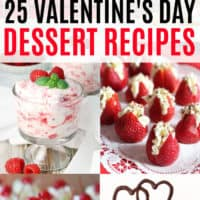 vertical collage of valentine's day dessert recipes with text