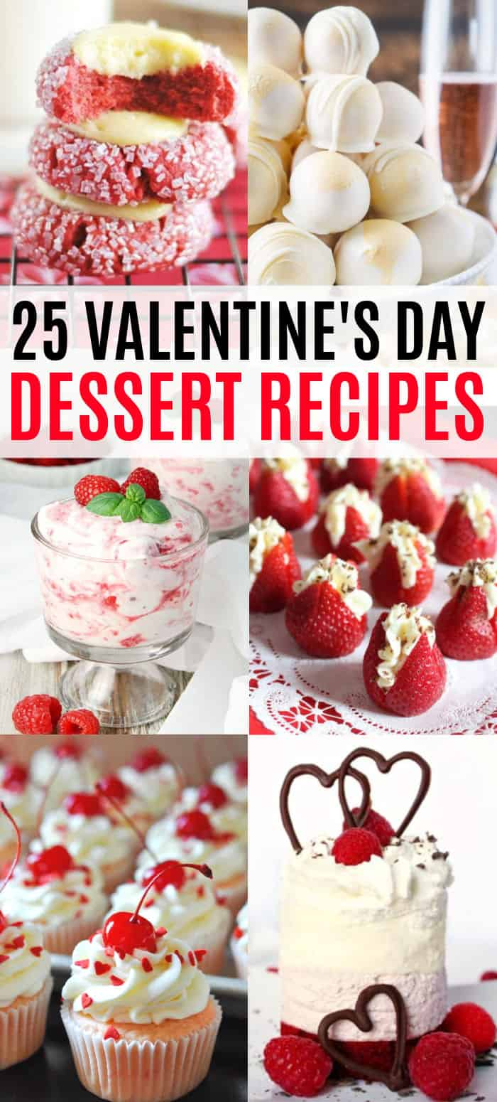 vertical collage of valentin'es day dessert recipes with text