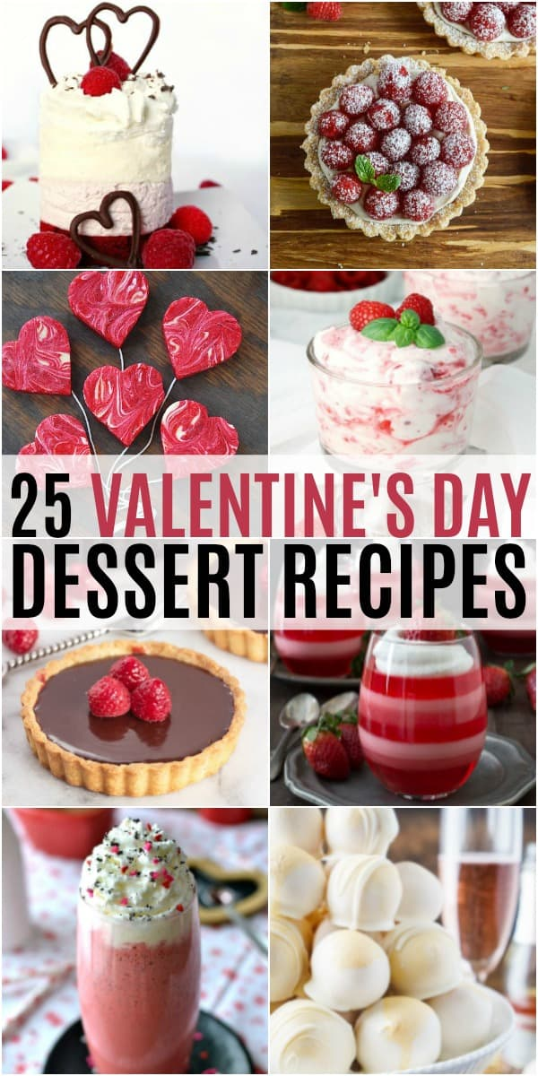 vertical collage of valentine's day dessert recipes
