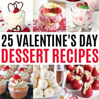 square collage of valentin'es day dessert recipes with text