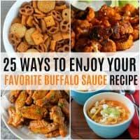 vertical collage of buffalo sauce recipe ideas