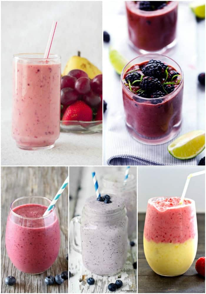 collage of berry smoothie recipes