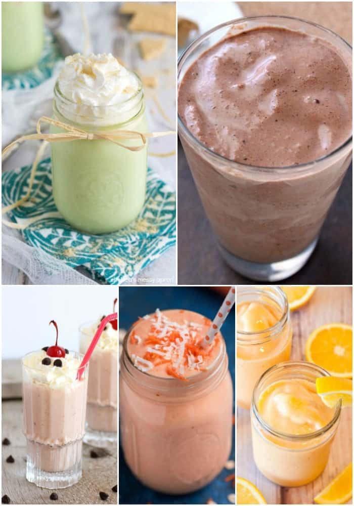 collage of dessert smoothie recipes