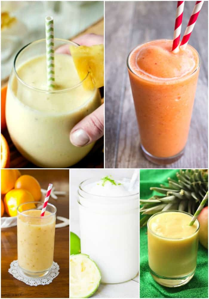 collage of fruity smoothie recipes