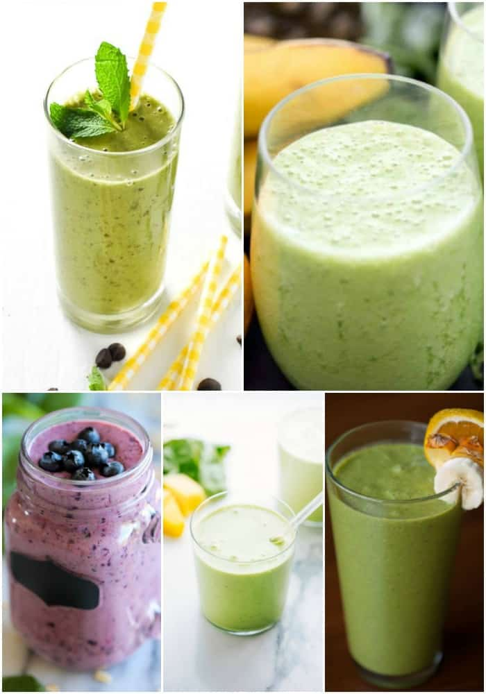 collage of green smoothie recipes