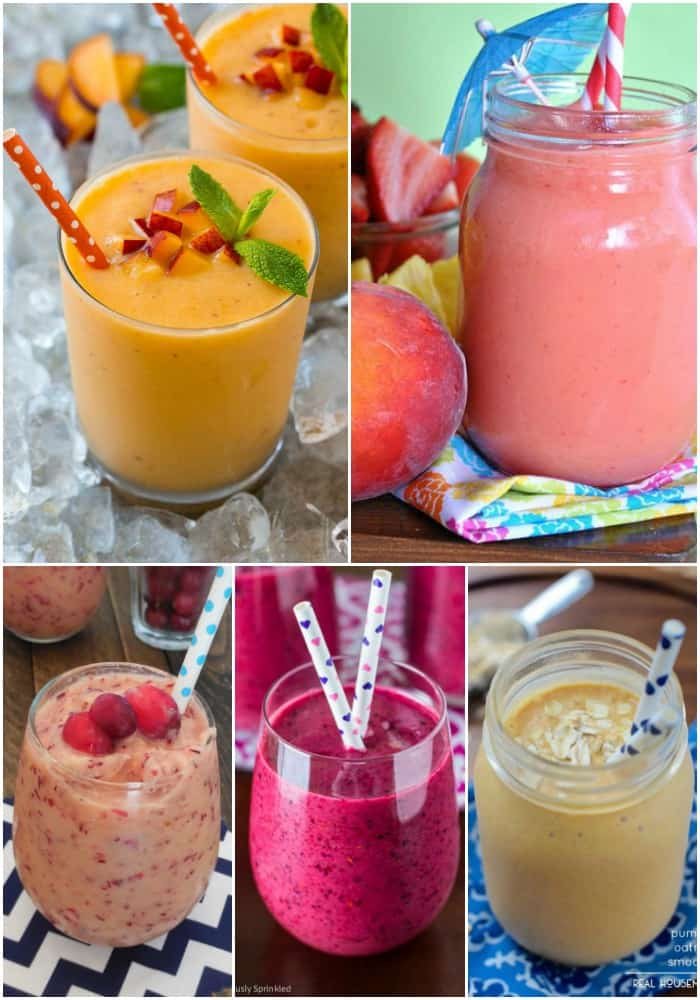 collage of miscellaneous smoothie recipes