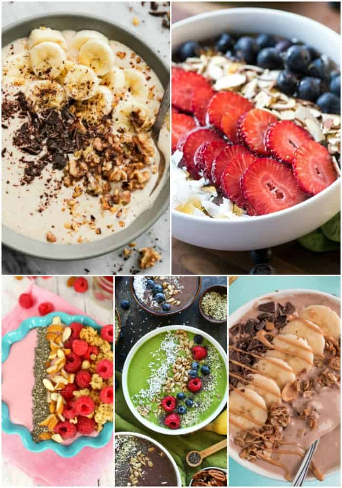 collage of smoothie bowl recipes