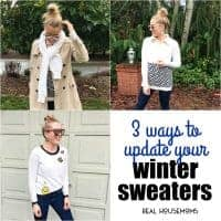 Let me just start off with the following... sweaters or scarves, knits or beanies, knit or crochet, or just yarn in general, in all their varieties, is so cool right now. With that said, I have 3 ways to update your winter sweaters in less than an hour.