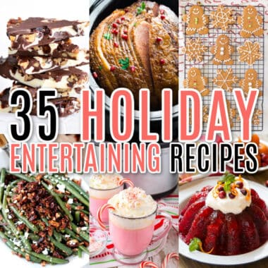 square collage of christmas and thanksgiving holiday entertaining recipes