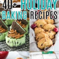 vertical collage of holiday baking recipes with text overlay