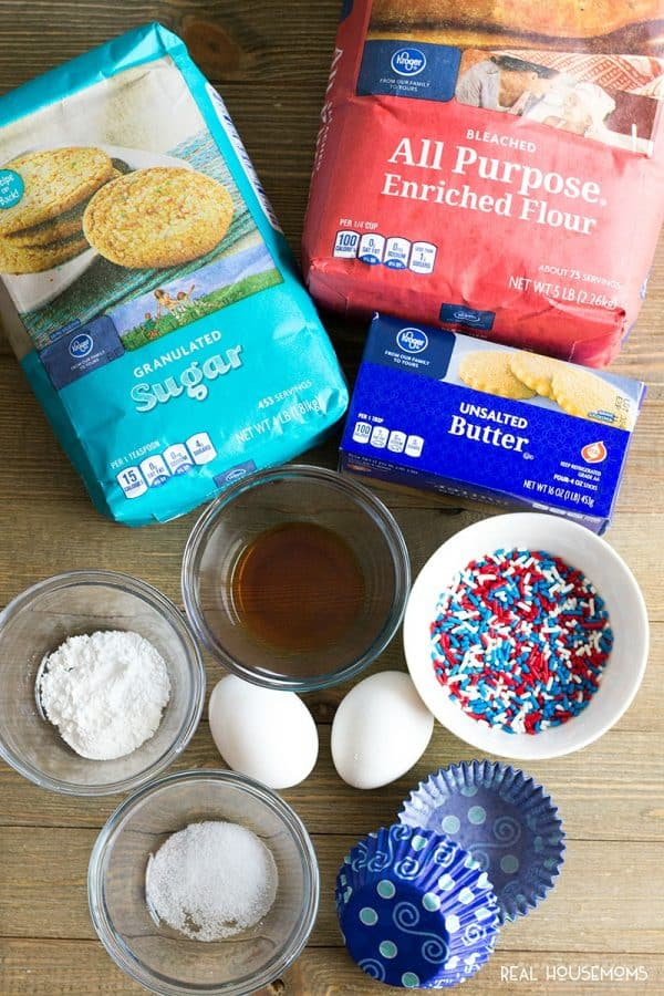 Ingredients from Kroger to make 4th of July Funfetti Cupcakes