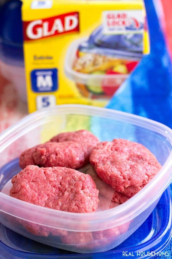 Burger patties prepped and stored in GladWare® containers