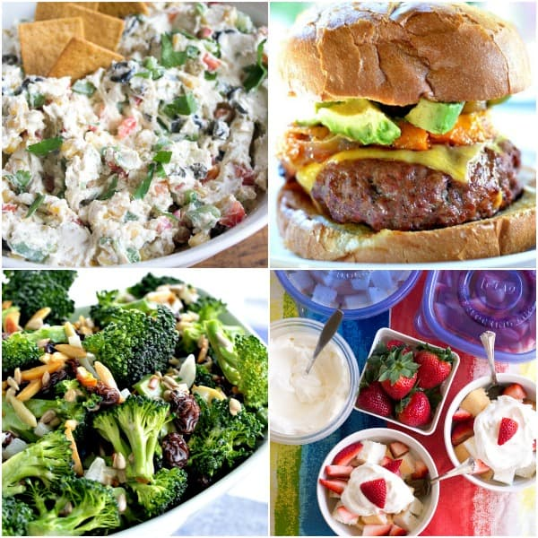 Collage of prep ahead recipes for a summer backyard bbq