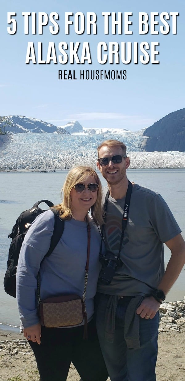 standing with my husband in Alaska with a glacier behind us