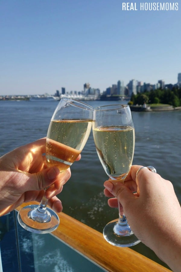 champagne toast from cruise ship balcony