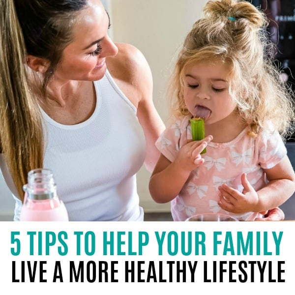 square image of 5 tips for a more healthy lifestyle with text