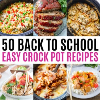 square collage of back to school crock pot recipes