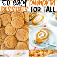 vertical collage of six pumpkin dessert recipes with text