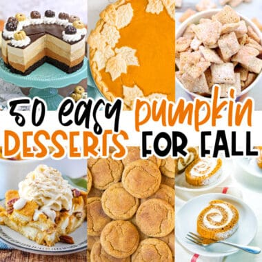 square collage of six pumpkin dessert recipes with text