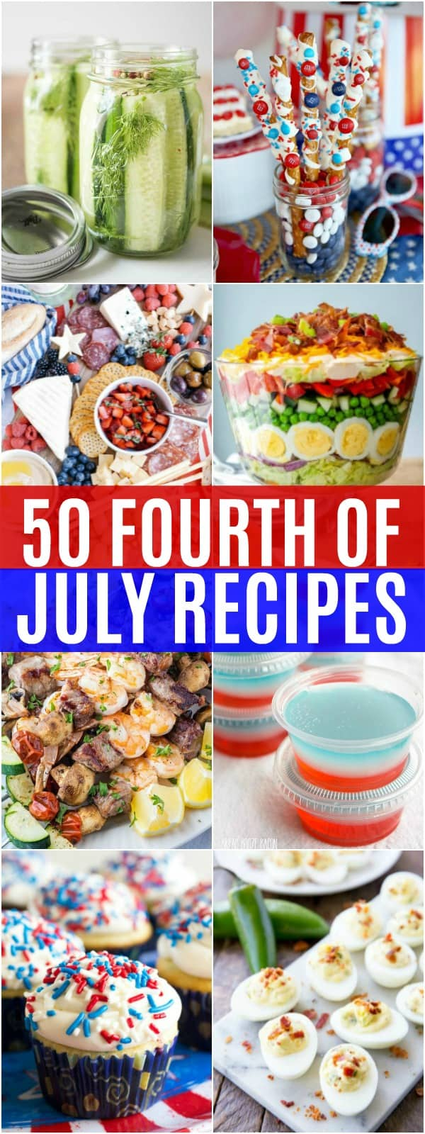 vertical collage of fourth of july recipes
