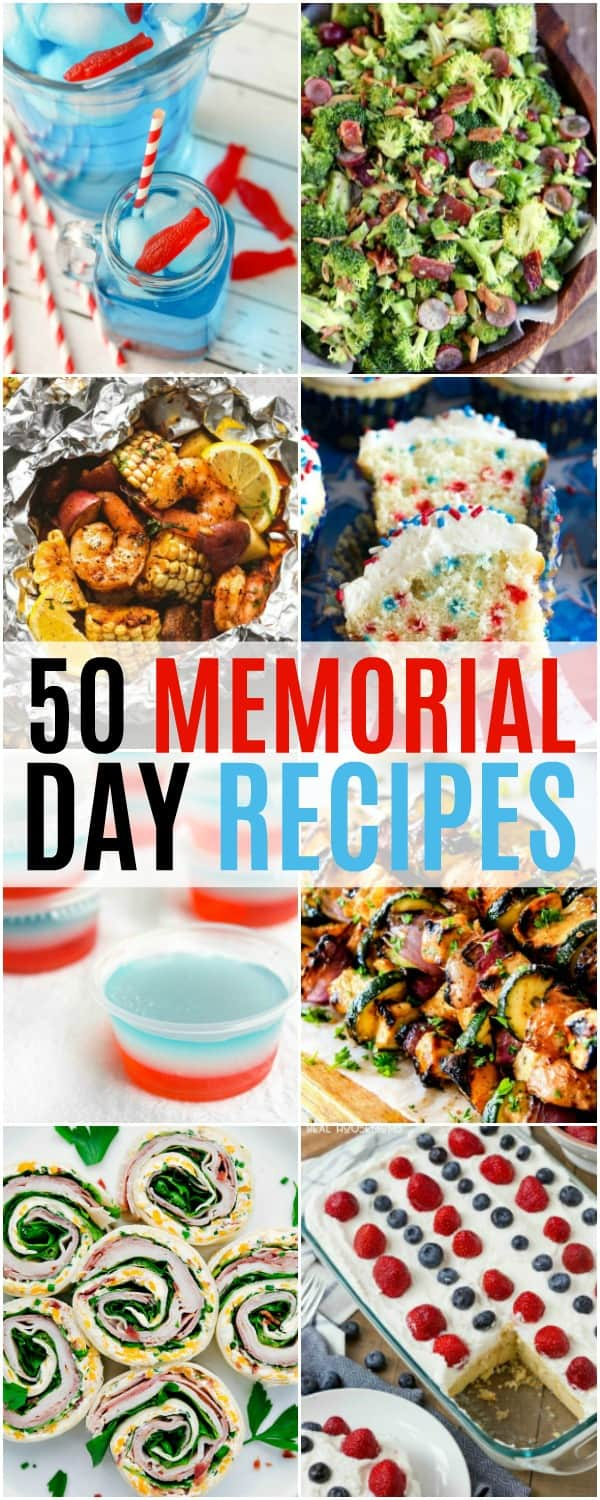 long collage of 50 memorial day recipes