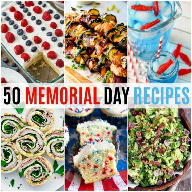 square collage of 50 memorial day recipes