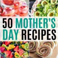 vertical collage of mother's day recipes with text