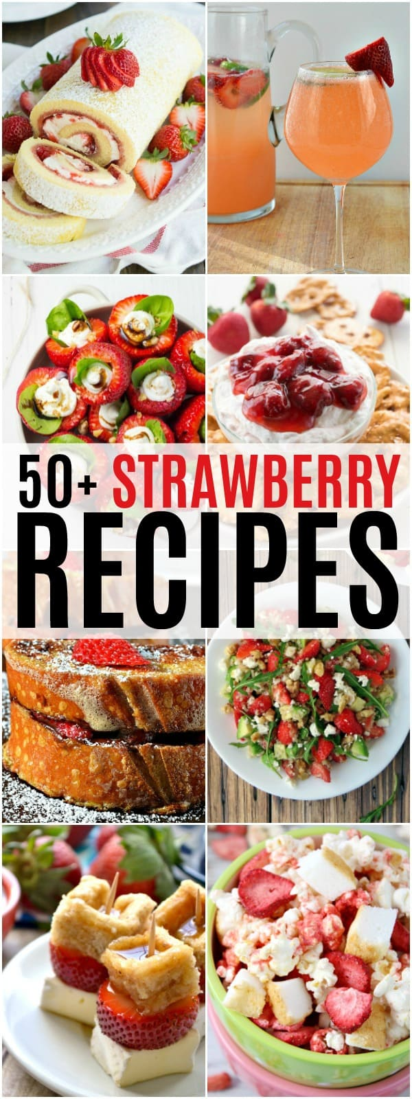 vertical collage of strawberry recipes