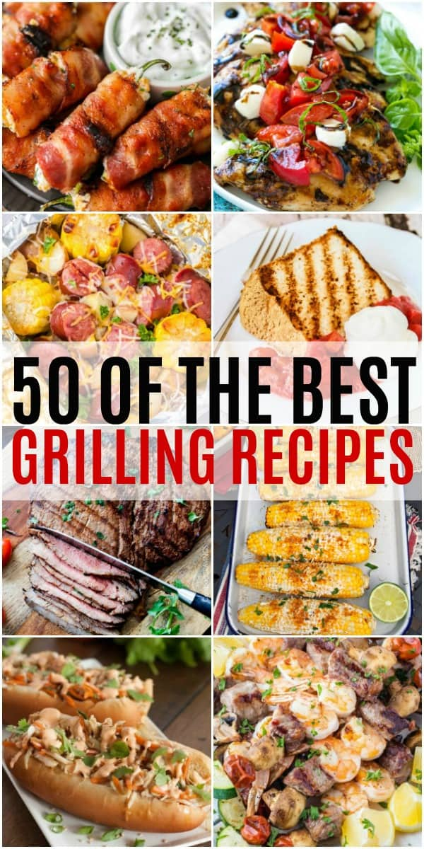 vertical collage of grill recipes